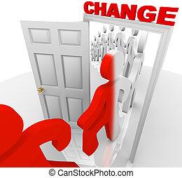 porte, par, marcher, changement