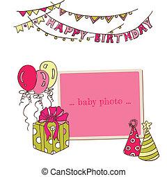 porte-photo, -, salutation, anniversaire, vecteur, endroit, texte, ton, carte