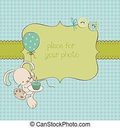 porte-photo, salutation, vecteur, endroit, texte, bébé, ton, carte