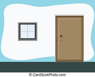 porte, -, salle, fond, dessin animé