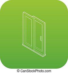 porte, vecteur, vert, glissement, icône