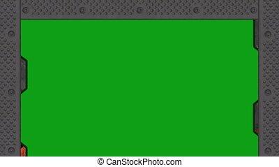 porte, vert, -, ferme, lourd, écran, acier, ouvre, cadre