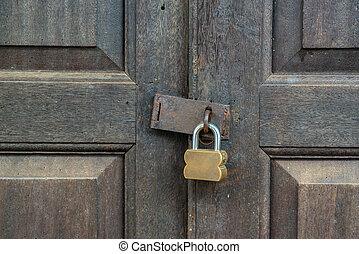 porte, vieux, bois, cadenas