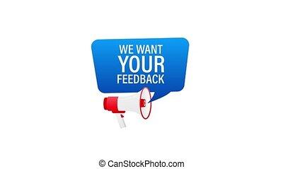 porte voix, nous, mouvement, graphics., vouloir, ton, feedback., tenant main