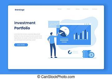 portefeuille, atterrissage, vecteur, investissement, page