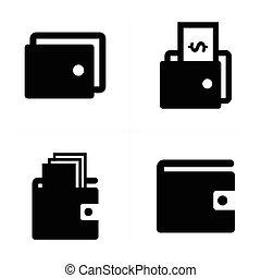 portefeuille, icônes, ensemble