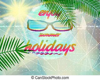 porter, été, sunglasses., ciel, soleil