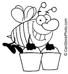 porter, abeille, esquissé, seaux, deux