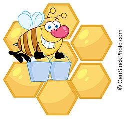 porter, abeille, seaux, deux, ouvrier
