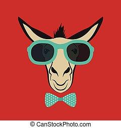 porter, bleu, âne, image, glasses., vecteur