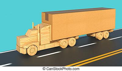 porter, camion, grand, boîte, jouet bois, road., mouvements, carton, jeûne