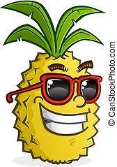 porter, caractère, lunettes soleil, dessin animé, ananas