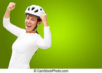 porter, casque, femme, applaudissement