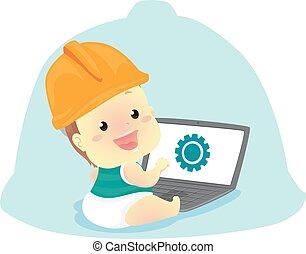 porter, casque, ordinateur portable, devant, bébé, ingénieur