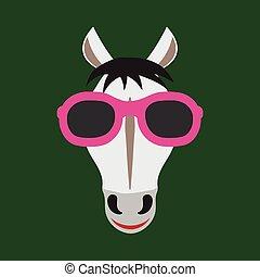 porter, cheval, vecteur, image, glasses.