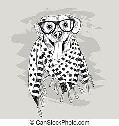 porter, chien, illustration, vecteur, hipster, écharpe, lunettes