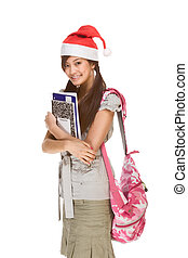 porter, claus, santa, sac à dos, portables, livre, stylo, asiatique, tenue, écolière, chapeau, composition, rouges