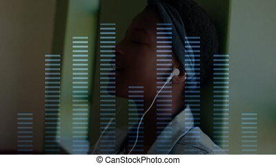 porter, compensateur, femme, sur, écouteurs, musique