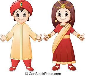 porter, couple, traditionnel, costume indien, dessin animé