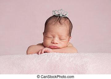 porter, couronne, nouveau-né, girl, princesse