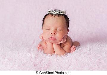 porter, couronne, rhinestone, nouveau né, délicat, dorlotez fille
