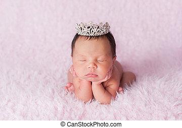 porter, couronne, rhinestone, nouveau-né, girl, princesse