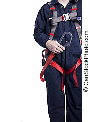 porter, coveralls, protection, harnais, automne, lanyard, homme