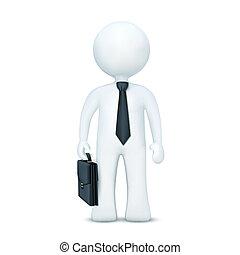 porter, debout, caractère, valise, cravate, 3d