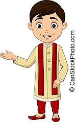 porter, dessin animé, indien, traditionnel, garçon, déguisement