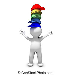 porter, différent, beaucoup, chapeaux, personne, responsabilités, lot, a