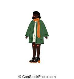 porter, diversité, femme, acceptation, corps, elle, beauté, vêtements, soi, africaine, caractère, illustration, américain, vecteur, femme, positif, corps, désinvolte, aimer