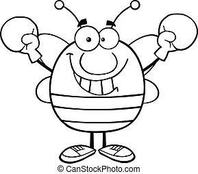 porter, esquissé, gants boxe, abeille