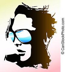 porter, femme, lunettes soleil, illustration