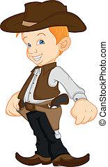 porter, garçon, cow-boy, déguisement, occidental