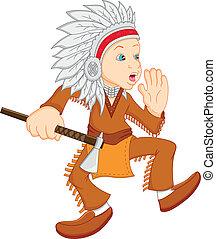 porter, garçon, indien amérique, déguisement