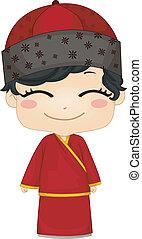 porter, garçon, peu, changsam, chinois, national, déguisement