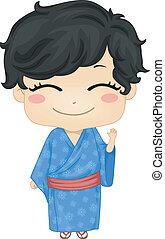 porter, garçon, peu, japonaise, déguisement, traditonal