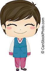 porter, garçon, peu, national, déguisement, coréen