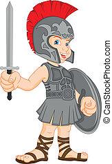 porter, garçon, romain, déguisement, soldat