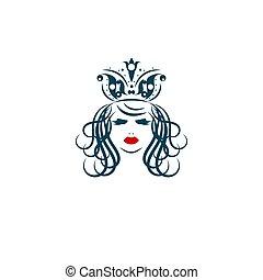 porter, girl, couronne, icône