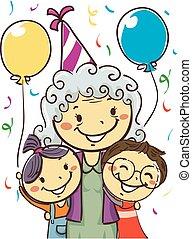 porter, gosses, elle, grand-mère, célébrer, fêtede l'anniversaire, chapeau