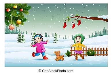 porter, gosses, hiver, neige, chlotes, jouer, jour noël, heureux