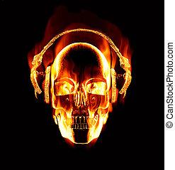porter, grand, flamboyant, crâne, image, écouteurs