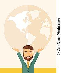 porter, homme affaires, globe., grand