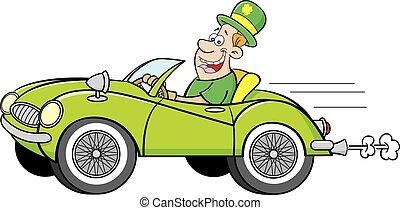 porter, homme, voiture., conduite, derby
