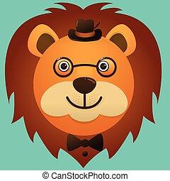 porter, image, figure, lion, vecteur, hipster, chapeau, lunettes