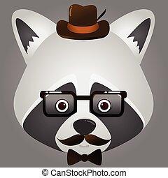 porter, image, figure, vecteur, hipster, raton laveur, chapeau, lunettes