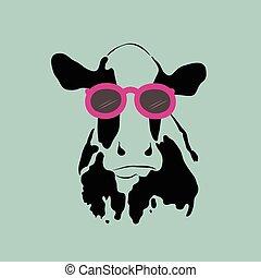 porter, image, vecteur, glasses., vache