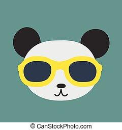 porter, image, vecteur, panda, glasses.