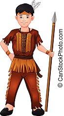 porter, indien, garçon, lance, américain, tenue, déguisement